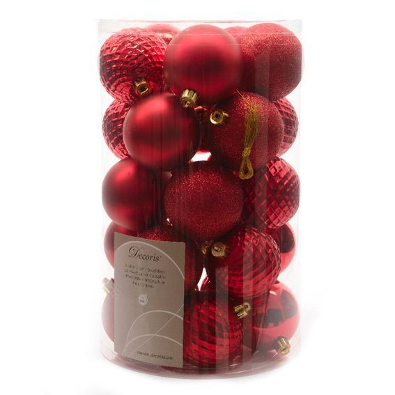 Lot de 25 boules de Noël (D70 mm) Alpine Rouge