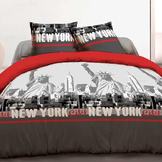 housse de couette et deux taies 240 cm new york rouge linge de lit eminza. Black Bedroom Furniture Sets. Home Design Ideas