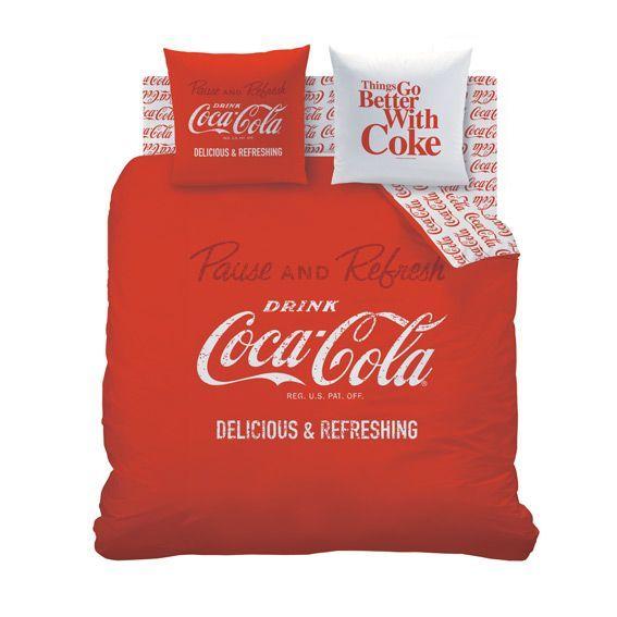 Housse de couette et deux taies 240 cm coca cola enjoy eminza - Housse de couette coca cola ...