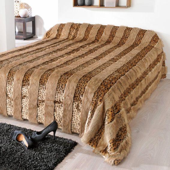 couvre lit boutis marron linge de lit eminza. Black Bedroom Furniture Sets. Home Design Ideas