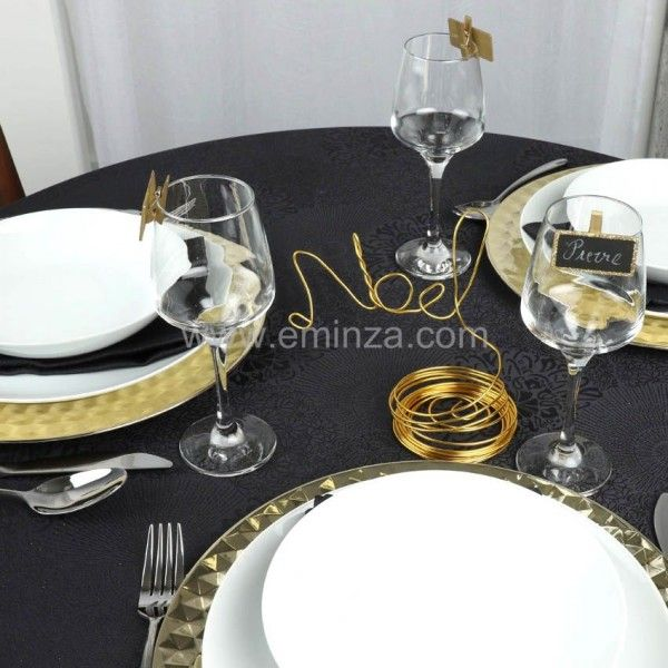 nappe ronde d180 cm totema noir nappe et chemin de table de f te eminza. Black Bedroom Furniture Sets. Home Design Ideas