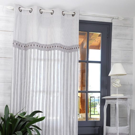 rideau 135 x h250 cm alphonsine gris rideau voilage. Black Bedroom Furniture Sets. Home Design Ideas