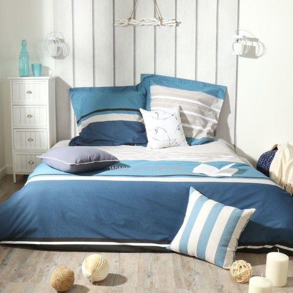 housse de couette et deux taies 200 cm deauville bleu. Black Bedroom Furniture Sets. Home Design Ideas