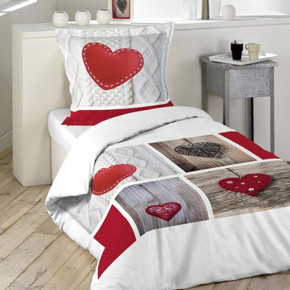 Linge de lit style montagne eminza for Housse couette une personne