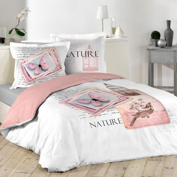 Housse de couette et deux taies 240 cm nature pastel linge de lit eminza - Housse de couette style romantique ...
