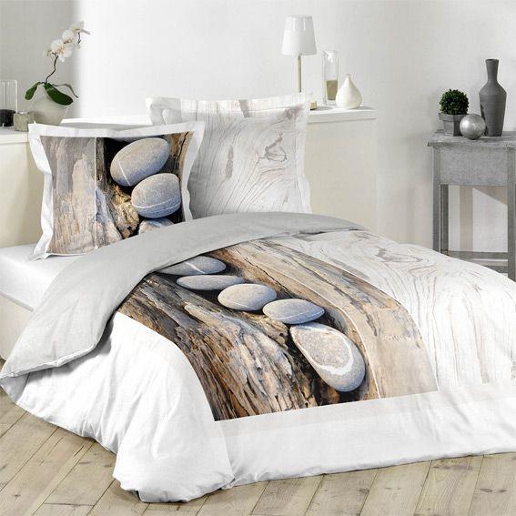 housse de couette et deux taies 260 cm mineral eminza. Black Bedroom Furniture Sets. Home Design Ideas