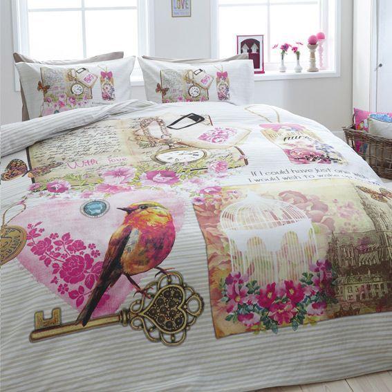 housse de couette et une taie 140 cm vintage love. Black Bedroom Furniture Sets. Home Design Ideas