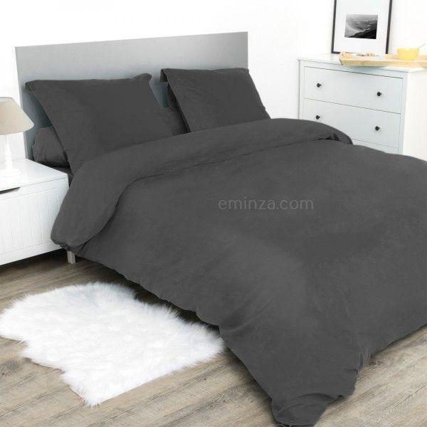 drap housse coton sup rieur 140 cm confort anthracite linge de lit eminza. Black Bedroom Furniture Sets. Home Design Ideas