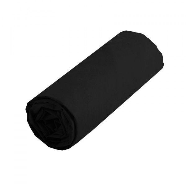 drap housse coton sup rieur 160 cm confort noir drap housse eminza. Black Bedroom Furniture Sets. Home Design Ideas
