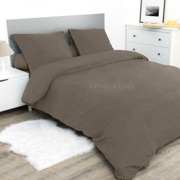 housse de couette 260 cm confort taupe linge de lit eminza. Black Bedroom Furniture Sets. Home Design Ideas