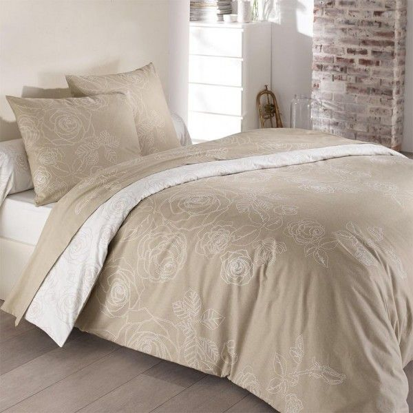 Parure de draps 4 pi ces flanelle z lie beige parure de - Parure de lit beige et marron ...
