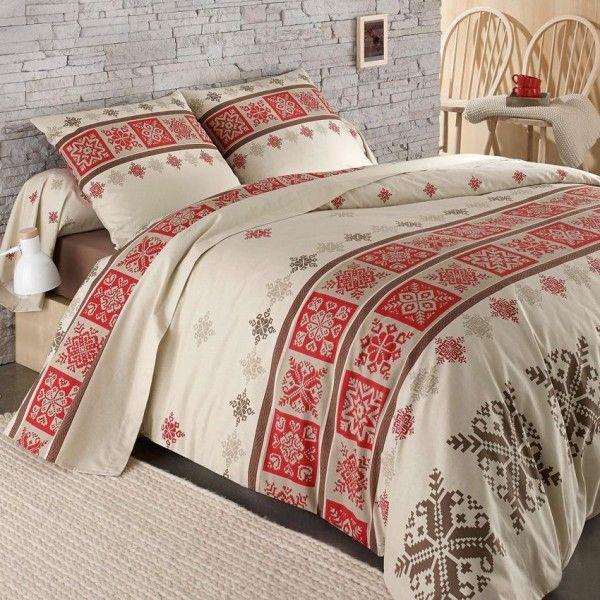 Housse de couette et deux taies 260 cm flanelle cork rouge housse de couette eminza - Parure de lit flanelle 2 personnes ...