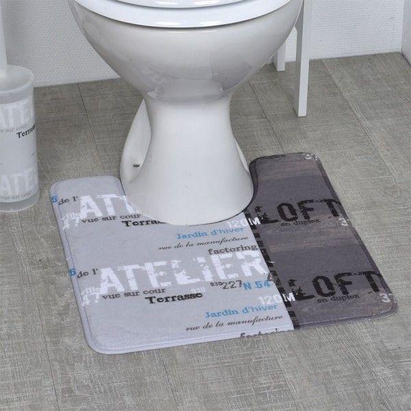 tapis contour wc gris tapis de bain eminza. Black Bedroom Furniture Sets. Home Design Ideas