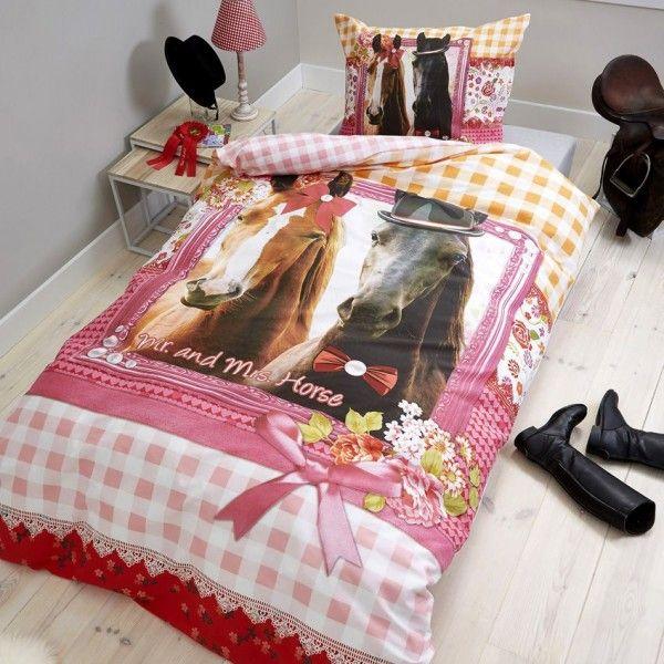 housse de couette et une taie 140 cm mr mrs horse linge de lit eminza. Black Bedroom Furniture Sets. Home Design Ideas