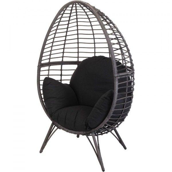 fauteuil cocoon noir bain de soleil et hamac eminza. Black Bedroom Furniture Sets. Home Design Ideas