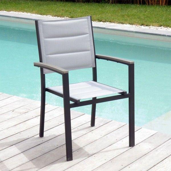 Fauteuil de jardin empilable amazonia gris anthracite salon de jardin table et chaise eminza - Chaise de jardin gris anthracite ...