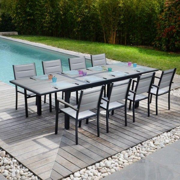 salon de jardin amazonia gris 7 pi ces salon de jardin table et chaise eminza. Black Bedroom Furniture Sets. Home Design Ideas