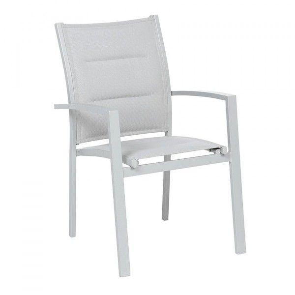 Salon de jardin table et chaise aluminium eminza for Fauteuil jardin gris