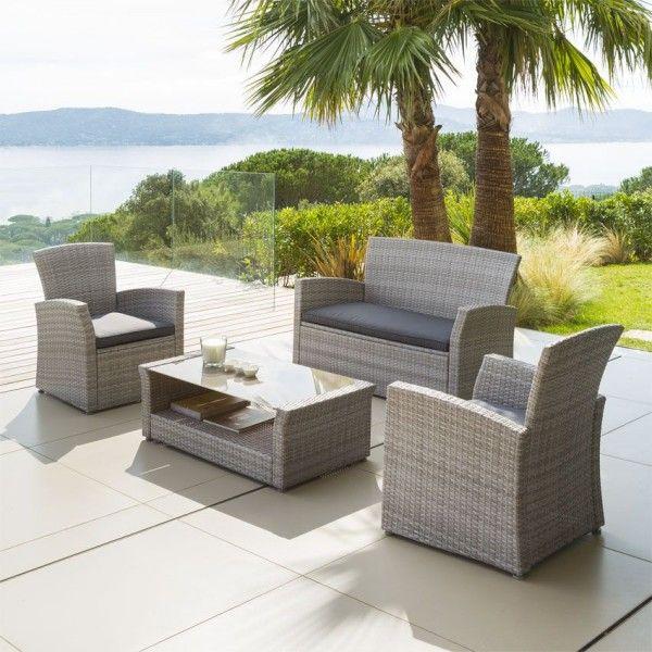 salon de jardin bora bora gris clair 4 places salon de jardin table et chaise eminza. Black Bedroom Furniture Sets. Home Design Ideas