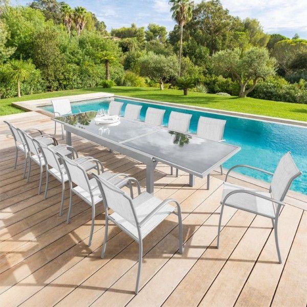 salon de jardin piazza gris silver mat verre 6 10. Black Bedroom Furniture Sets. Home Design Ideas