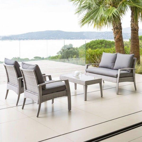 salon de jardin cilaos gr ge gris 4 places salon de jardin eminza. Black Bedroom Furniture Sets. Home Design Ideas