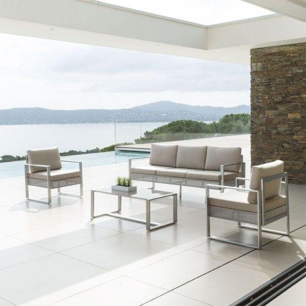 Salon de jardin salon de jardin table et chaise eminza for Salon de jardin taupe