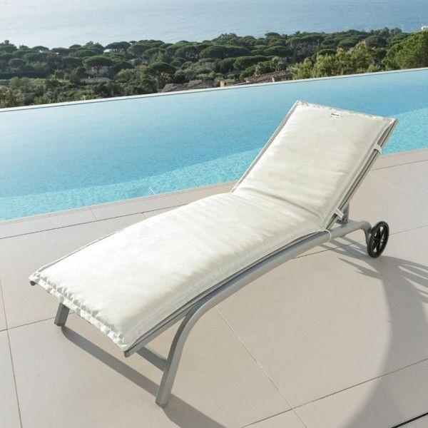 coussin bain de soleil river blanc textile d 39 ext rieur eminza. Black Bedroom Furniture Sets. Home Design Ideas