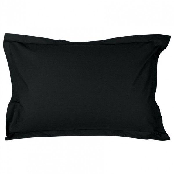 taie d 39 oreiller rectangulaire percale de coton manoir noir linge de lit eminza. Black Bedroom Furniture Sets. Home Design Ideas