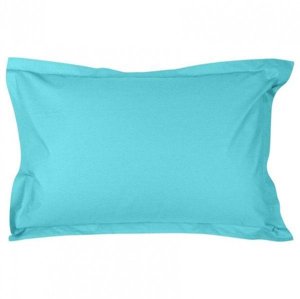 taie d 39 oreiller rectangulaire percale de coton manoir lagon linge de lit eminza. Black Bedroom Furniture Sets. Home Design Ideas