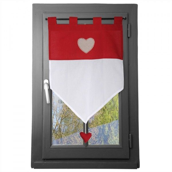 voilage vitrage 60 x h90 cm joliesse rouge rideau voilage store eminza. Black Bedroom Furniture Sets. Home Design Ideas