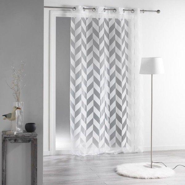 voilage 140 x h240 cm lilia blanc voilage eminza. Black Bedroom Furniture Sets. Home Design Ideas