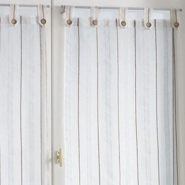 paire de voilages 60 x 120 cm tiss sienna naturel rideau voilage store eminza. Black Bedroom Furniture Sets. Home Design Ideas
