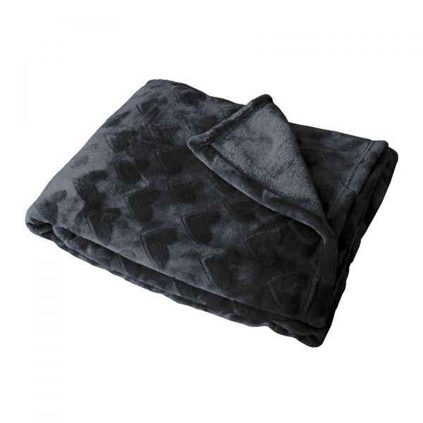 Plaid polaire Cœur flanelle Anthracite