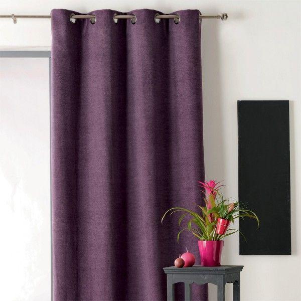 Rideau et voilage rideaux rideaux occultant voilage eminza for Rideau aubergine