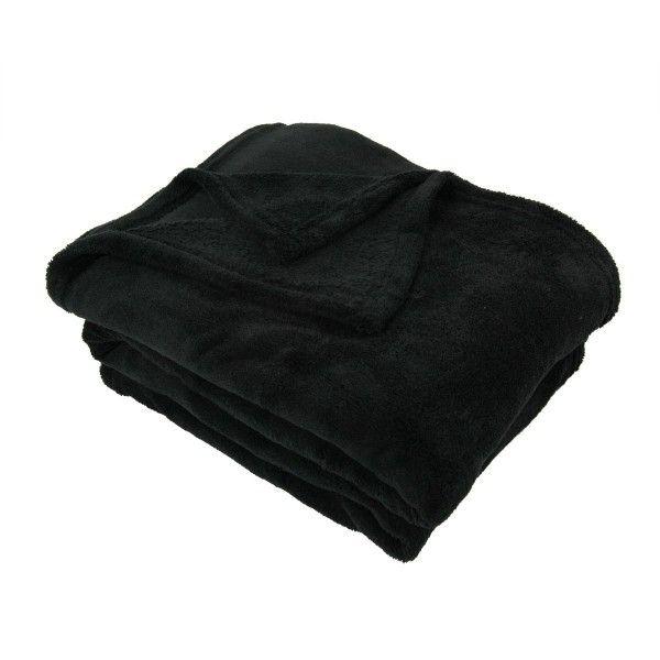 plaid polaire 150 cm tendresse noir plaid et jet eminza. Black Bedroom Furniture Sets. Home Design Ideas