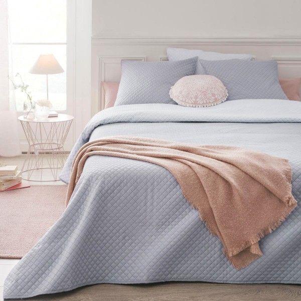 boutis et taies d 39 oreiller 240 x 260 cm diamant gris clair linge de lit eminza. Black Bedroom Furniture Sets. Home Design Ideas