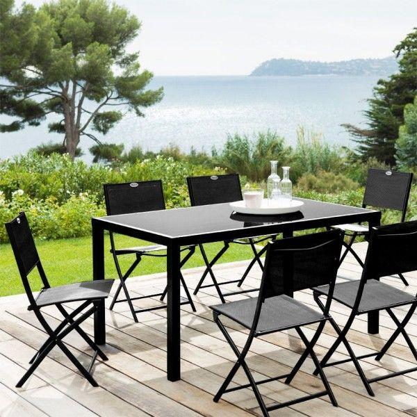Salon de jardin piazza fixe noir 8 personnes salon de jardin table et chaise eminza - Salon de jardin 8 personnes ...