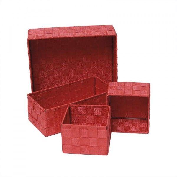 Lot de 4 paniers Color Rouge - Rangement - Eminza
