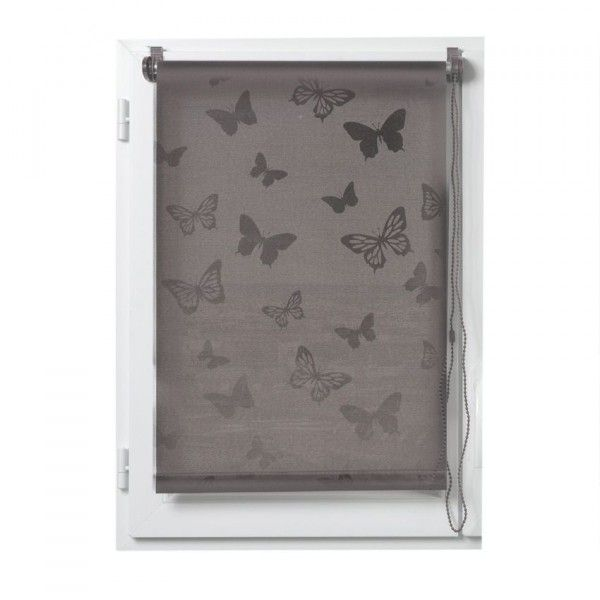 Store enrouleur tamisant (45 x H180 cm) Papillons Taupe