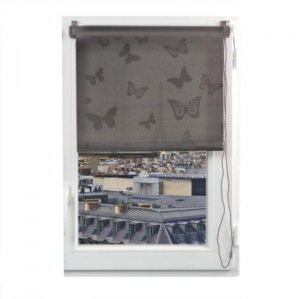 store enrouleur tamisant 60 x 180 cm papillons taupe rideau voilage store eminza. Black Bedroom Furniture Sets. Home Design Ideas