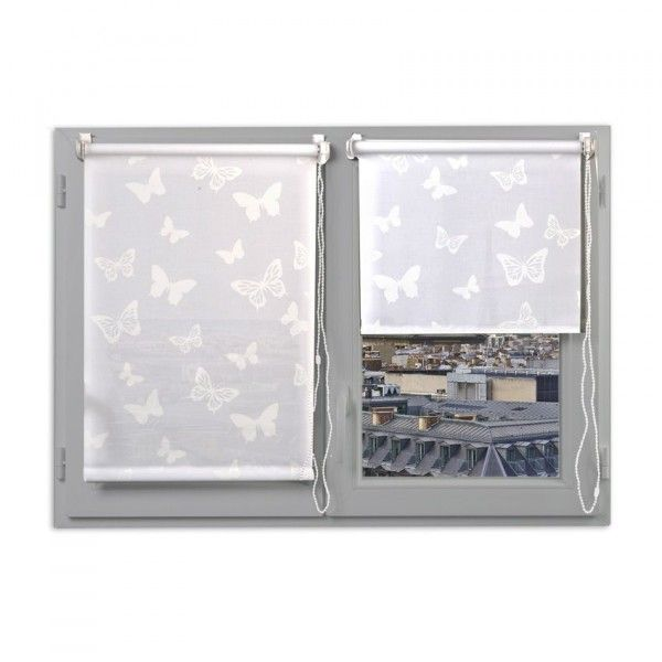 store enrouleur tamisant 90 x 180 cm papillons blanc eminza. Black Bedroom Furniture Sets. Home Design Ideas