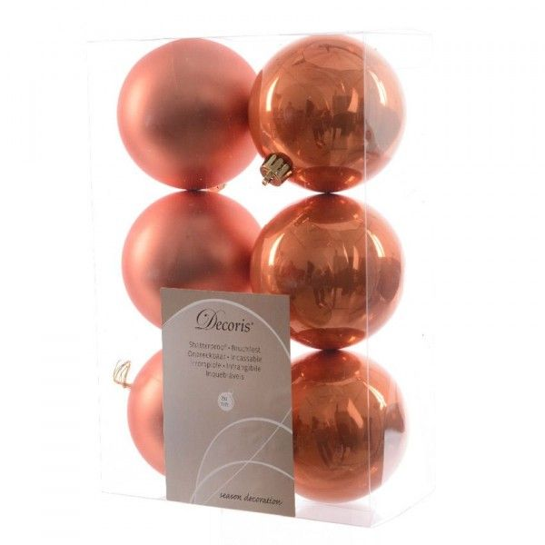 Lot de 6 boules de Noël (D80 mm) Alpine Orange