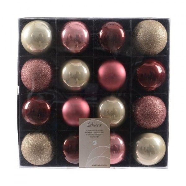 lot de 16 boules de no l d60 mm luxe rose framboise boule et d co de sapin eminza. Black Bedroom Furniture Sets. Home Design Ideas