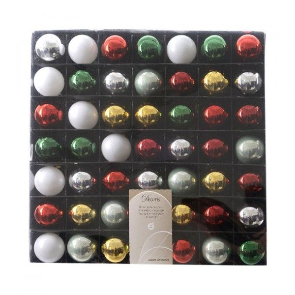 Lot de 49 boules de Noël (D3 mm) Chritmas time Multicouleur