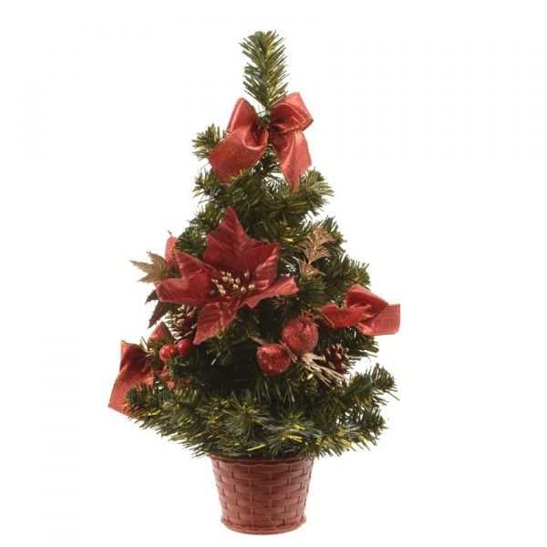 Sapin artificiel de table décoré Décoré H40 cm Rouge