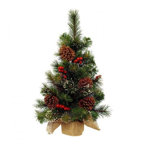 Sapin artificiel de table Pomme de pin H45 cm Vert enneigé