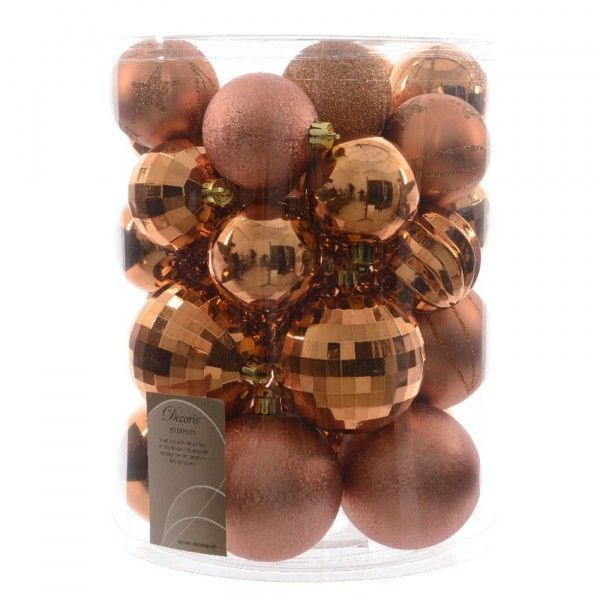 Lot de 30 boules de Noël unies Mix Cuivre