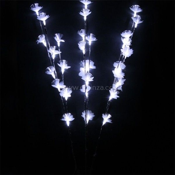 Lot de 3 branches lumineuses Bouquet Fibre optique (30 LED) Blanc froid