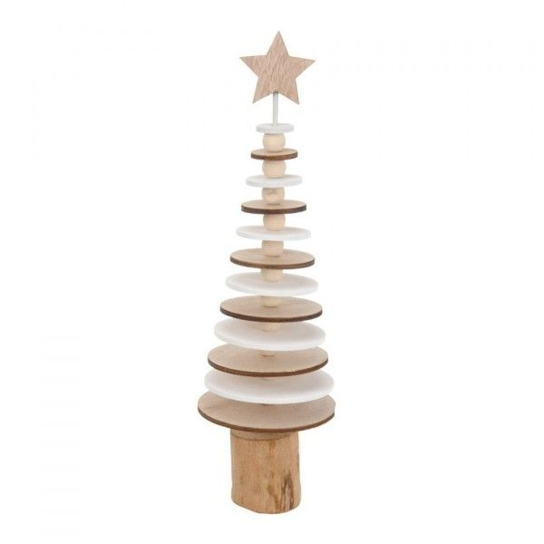Sapin de table décoratif Rondin H25 cm Naturel