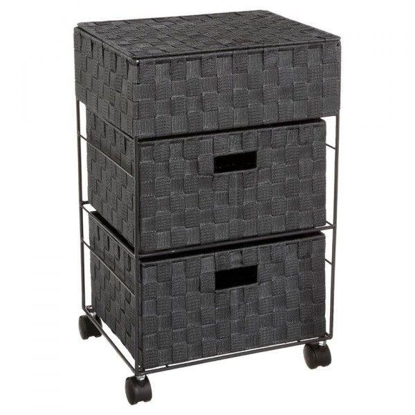 meuble sur roulettes 3 paniers anthracite meuble bas eminza. Black Bedroom Furniture Sets. Home Design Ideas